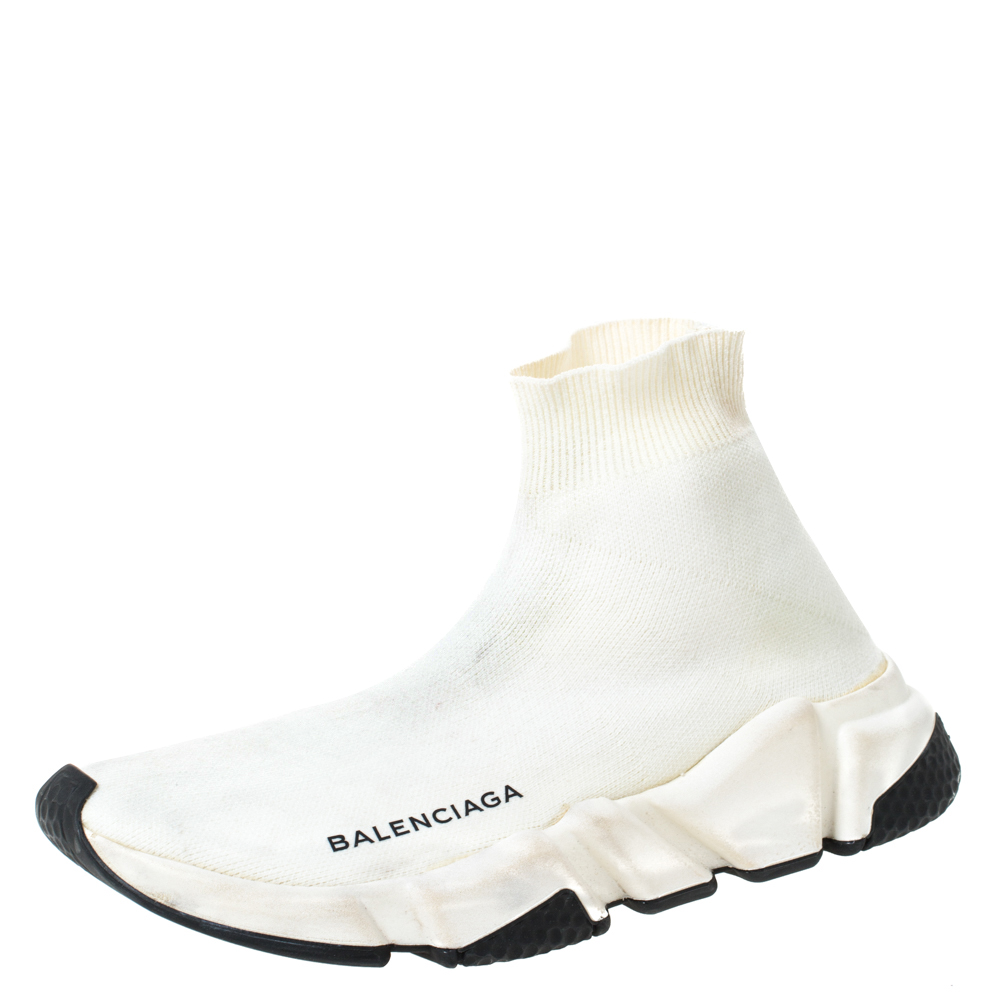 Balenciaga Off white Knit Fabric Speed Trainer Sneakers Size 36