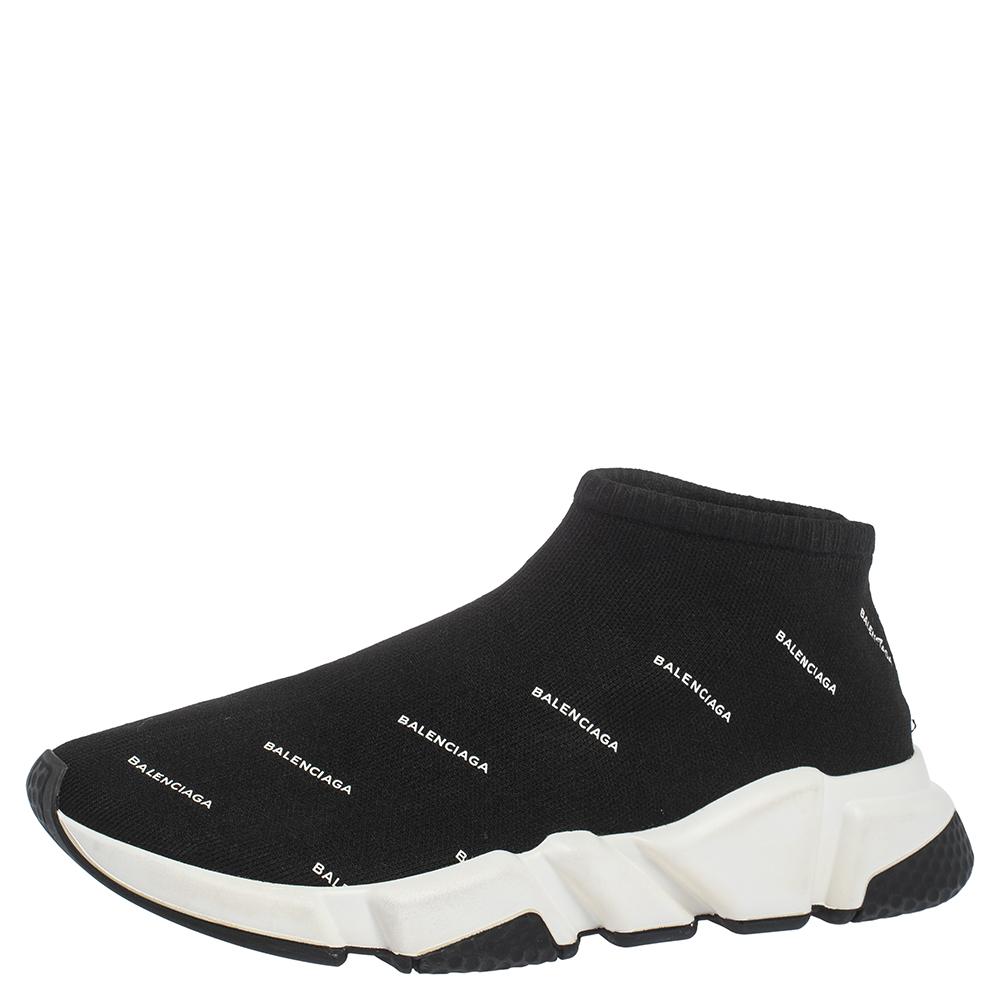 Balenciaga Black Logo Print Knit Speed Trainer Sneakers Size 40