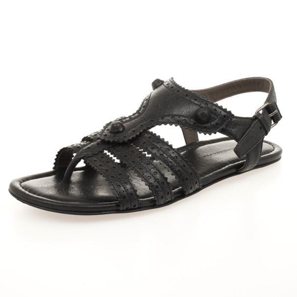 f40467a5e3dc Buy Balenciaga Black Arena T-Strap Flat Sandals Size 38 31395 at ...