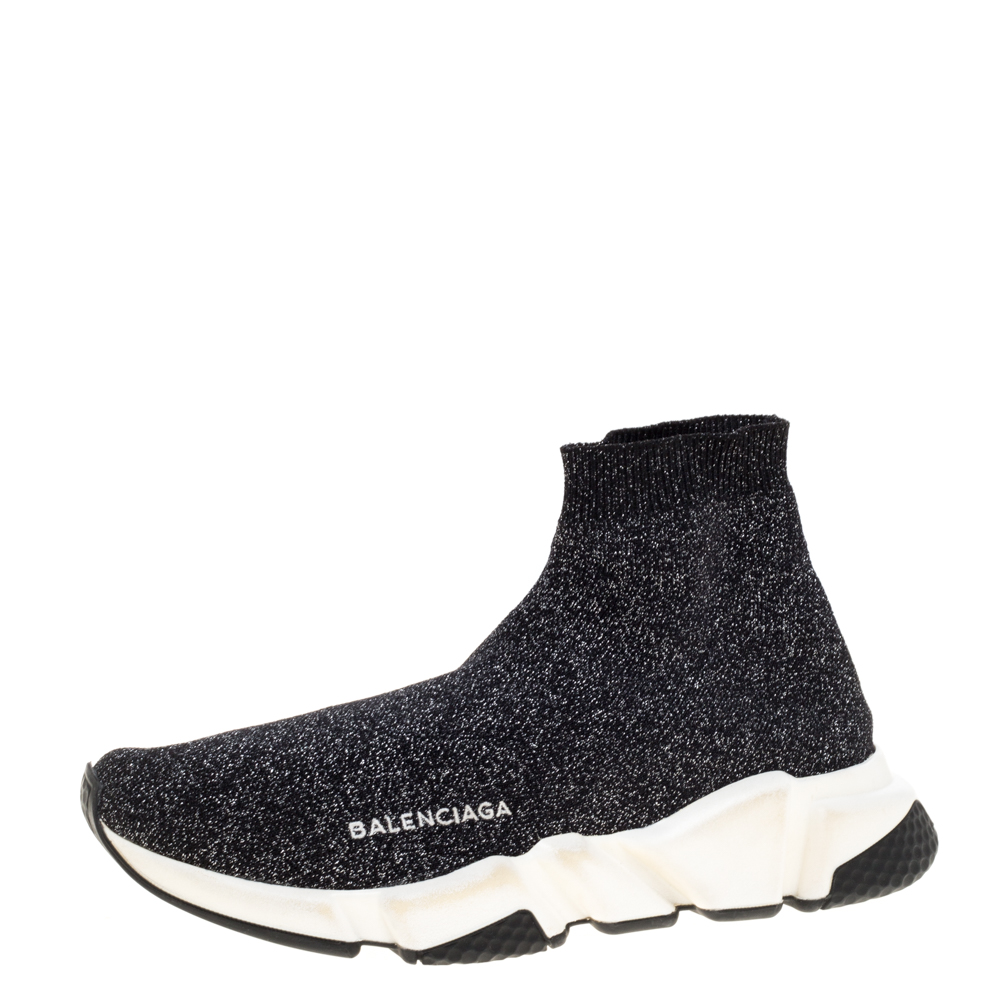 Balenciaga Shimmery Black Knit Fabric Speed Trainer Sneakers Size 39