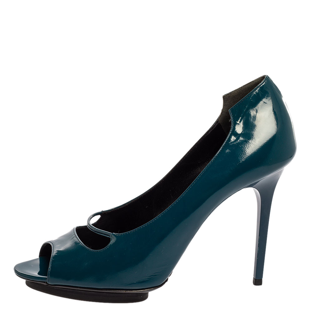 Balenciaga Peacock Blue Patent Leather Peep Toe Pumps Size 39.5  - buy with discount