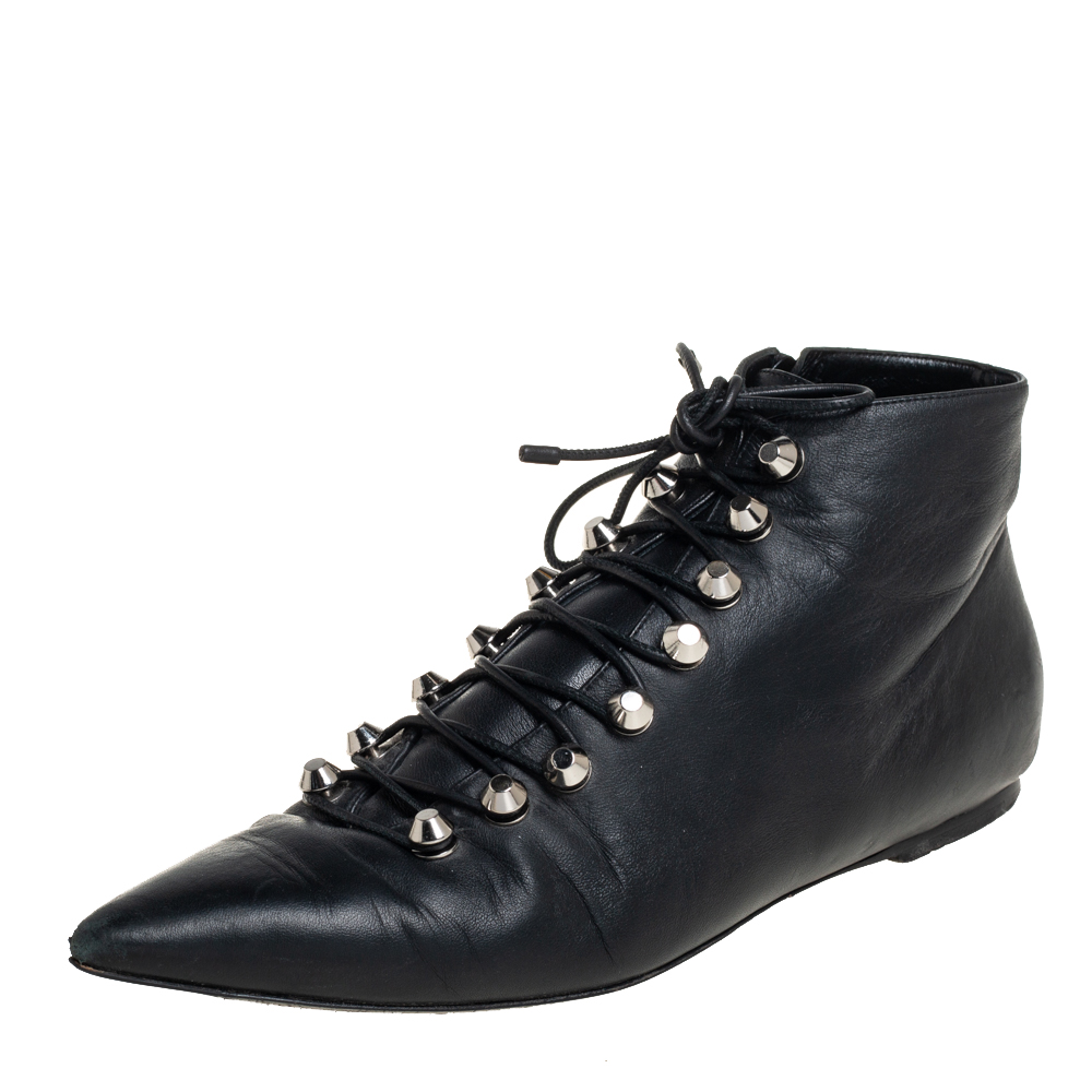 Pre-owned Balenciaga Black Leather Pointed Toe Lace Up Ankle Boots Size 40
