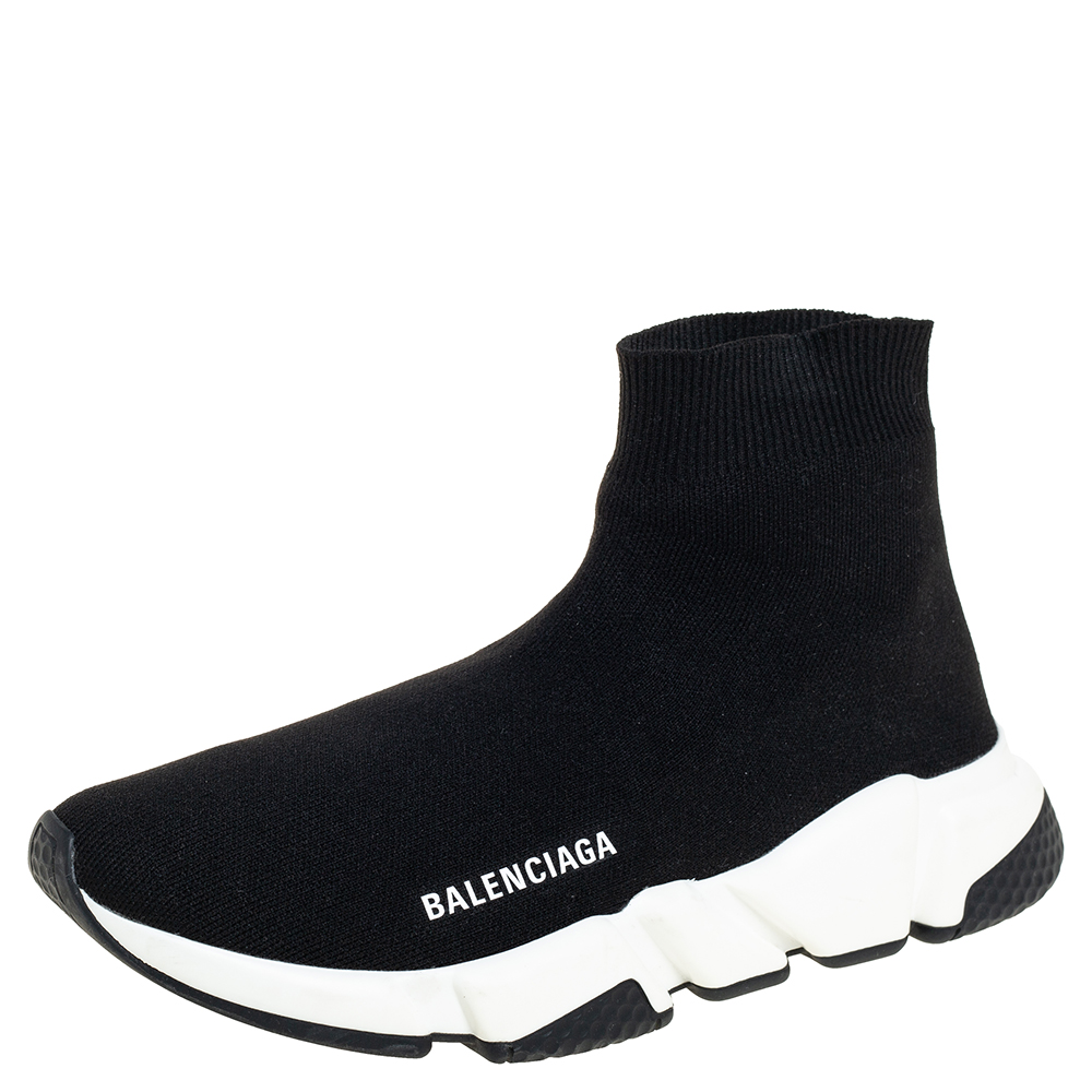 Pre-owned Balenciaga Black Knit Fabric Speed Trainer Sneakers Size 39