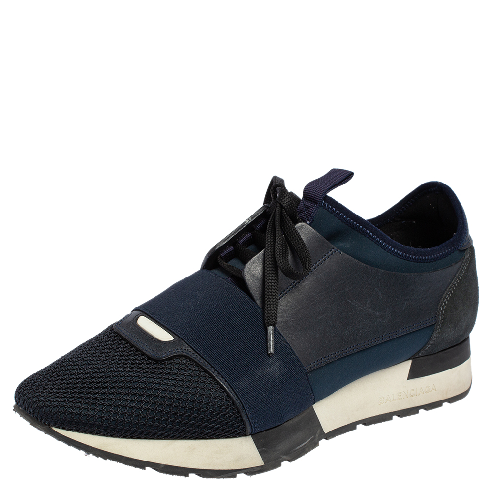 Pre-owned Balenciaga Navy Blue/black Leather And Mesh Race Runner Sneakers Size 39