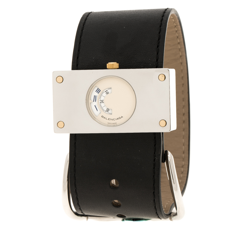 Balenciaga Cream Stainless Steel Limited Edition 922/1000 Women's Wristwatch 45 mm