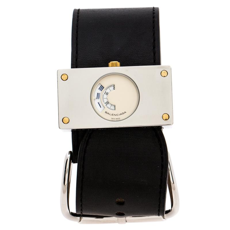 Balenciaga Cream Stainless Steel Leather Limited Edition Rectangular Women's Wristwatch 45 mm