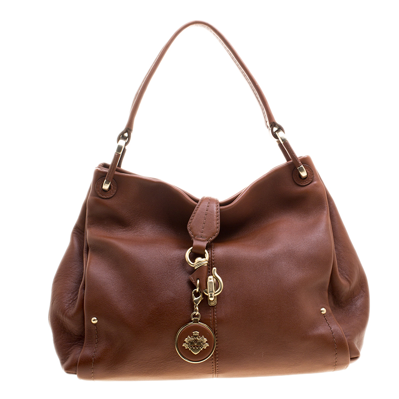Bally Brown Leather Charm Hobo