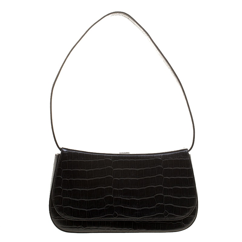 ccb76c330dd4 Buy Bally Black Croc Embossed Leather Flap Shoulder Bag 132964 at ...