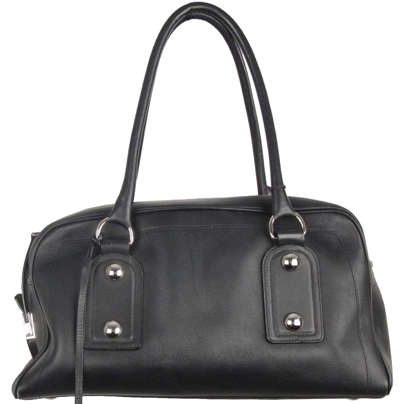 4cbab3266958 Buy Bally Black Leather Bowling Bag 156922 at best price