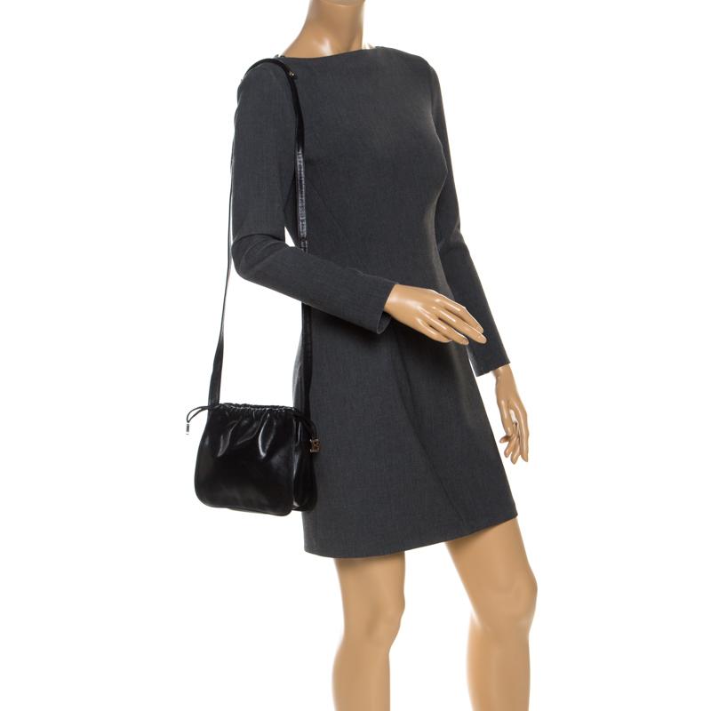 Bally Black Leather Drawstring Crossbody Bag