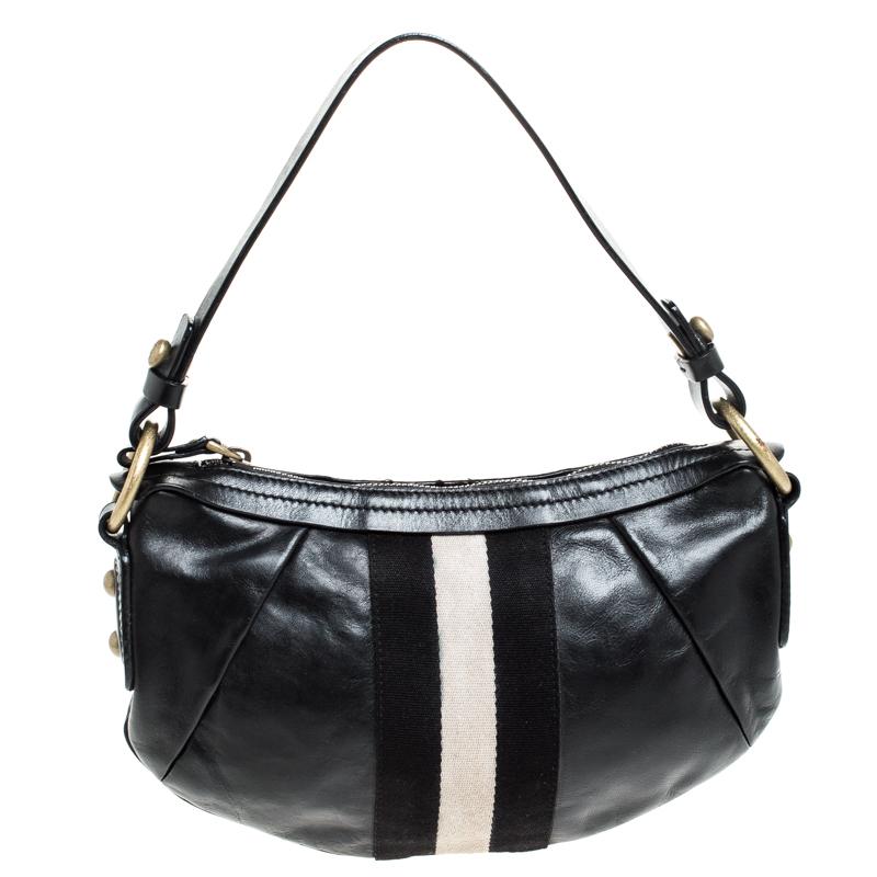 Bally Black Leather Traki Shoulder Bags