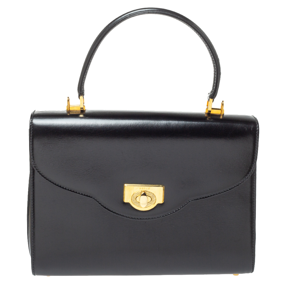 Pre-owned Bally Black Leather Vintage Top Handle Bag