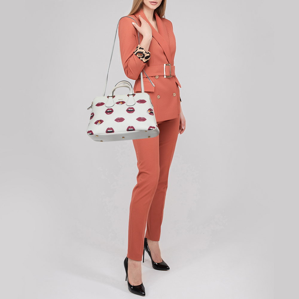 Bally White Lip Print Leather Berkeley Double Zip Tote  - buy with discount