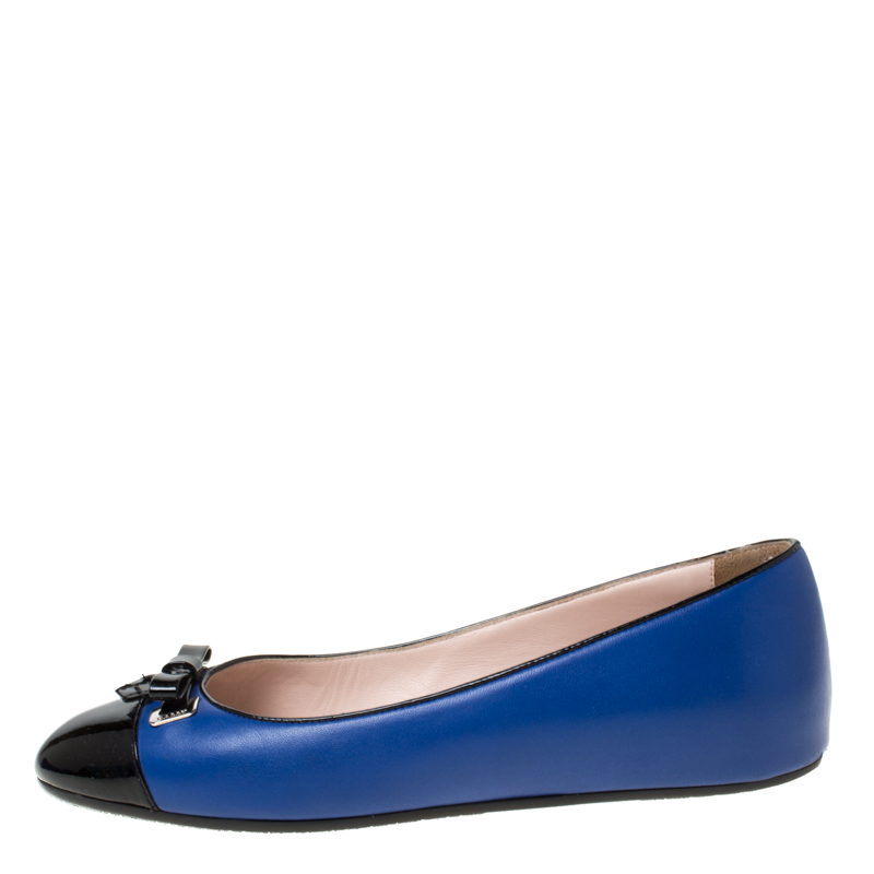 website for discount competitive price the cheapest Bally Blue/Black Leather Bow Ballet Flats Size 37.5