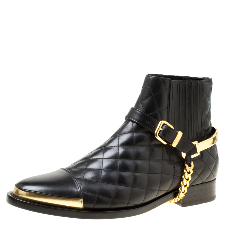 64359b3e7f3 Buy Balmain Black Quilted Leather Chain Embellished Ankle Boots Size ...