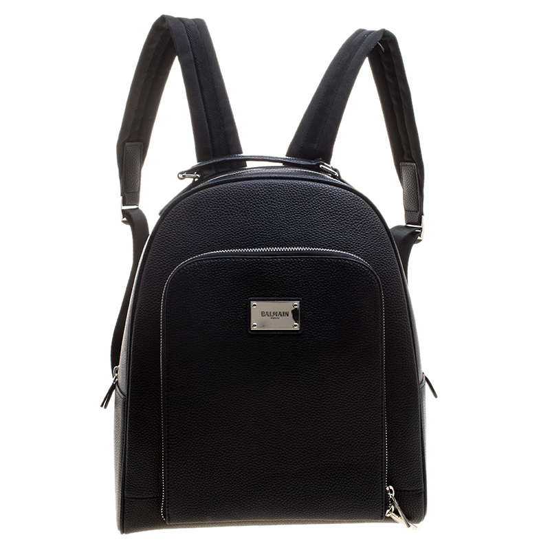 19d7882cada Buy Balmain Black Pebbled Leather Backpack 123559 at best price