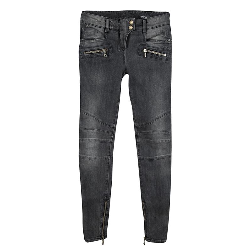 64d4fd77f6ee22 ... Balmain Grey Faded Effect Denim Logo Button Detail Distressed Jeans S.  nextprev. prevnext