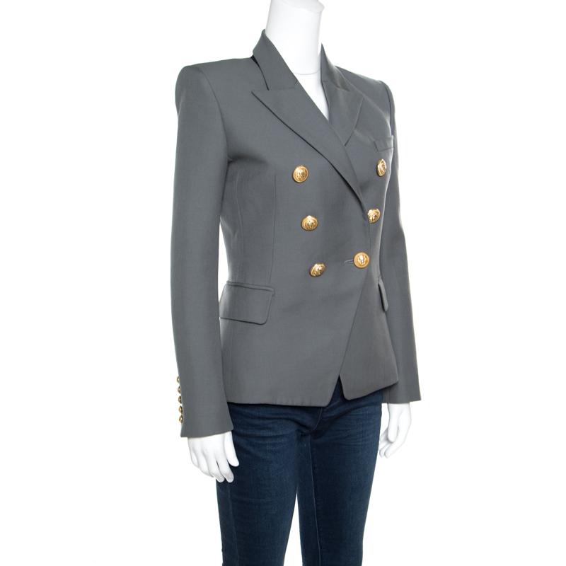 Balmain Grey Wool Logo Button Detail Double Breasted Blazer S