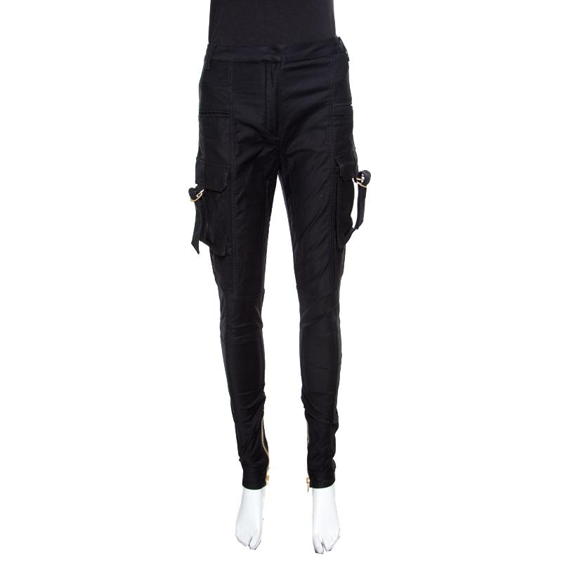 Купить со скидкой Balmain Black Cotton Ankle Zip Detail High Waisted Pants S