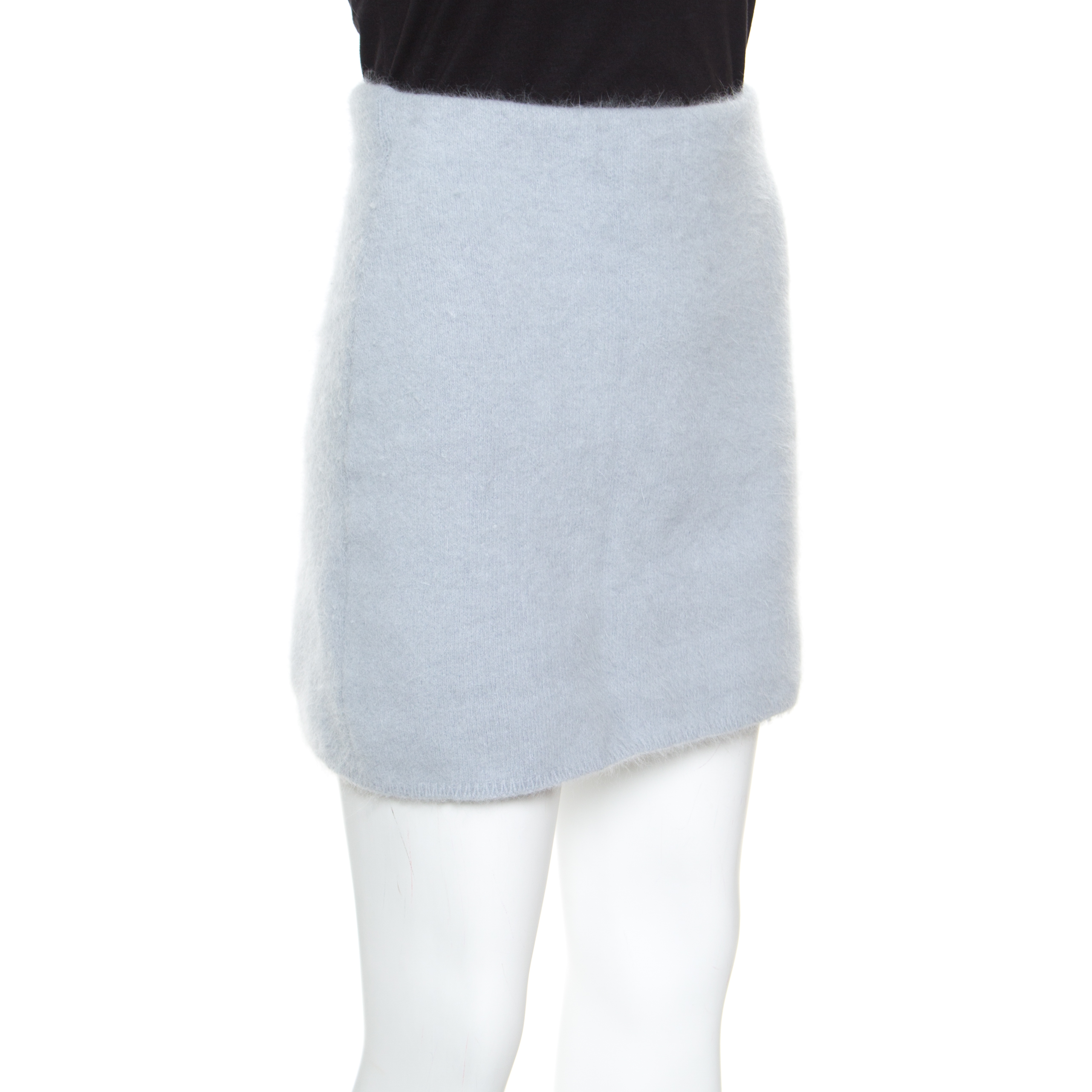 Balmain Bleu Poudre De Laine Angora Mini Jupe S