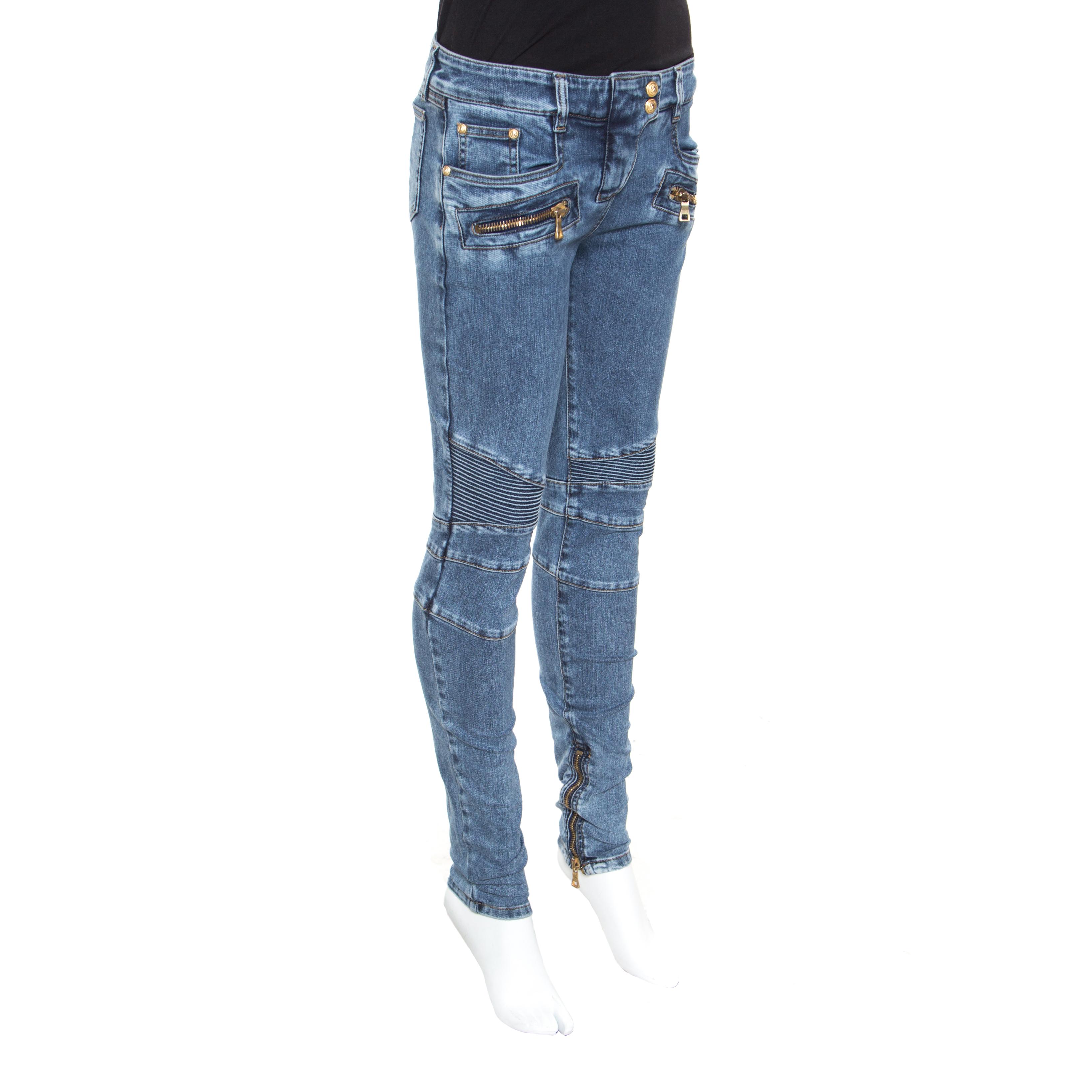 Balmain Indigo Washed Denim Pin tucked Panel Zip Detail Skinny Biker Jeans S