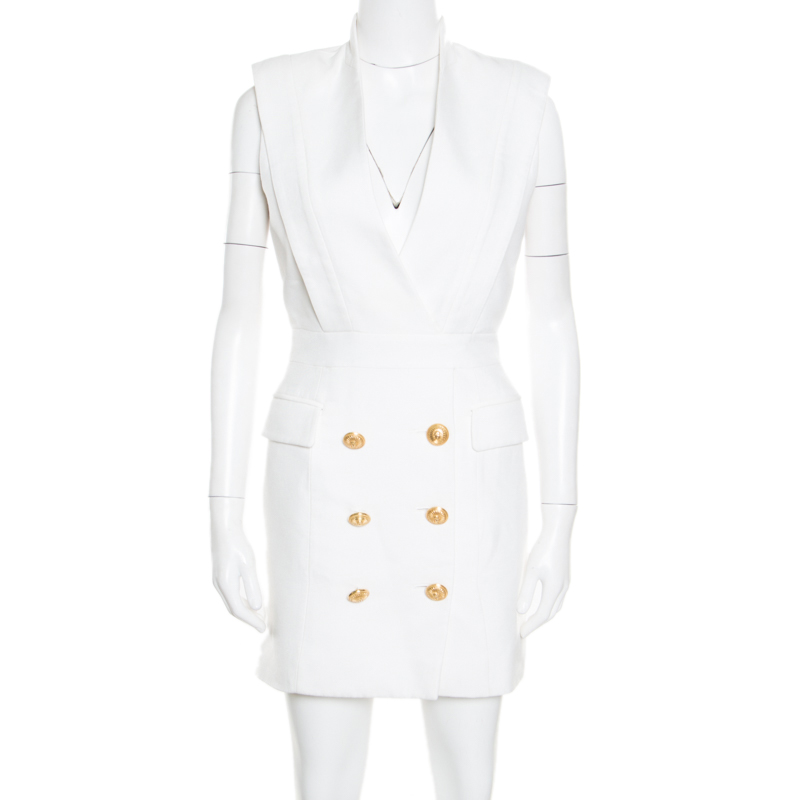 eb708b9d ... Balmain Off White Plunge Neck Sleeveless Blazer Dress M. nextprev.  prevnext