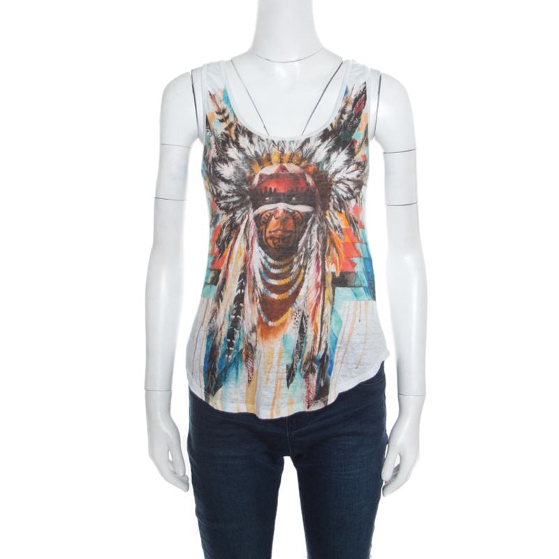 cafafa27 Buy Balmain White Linen Jersey Red Indian Print Sleeveless Tank Top ...