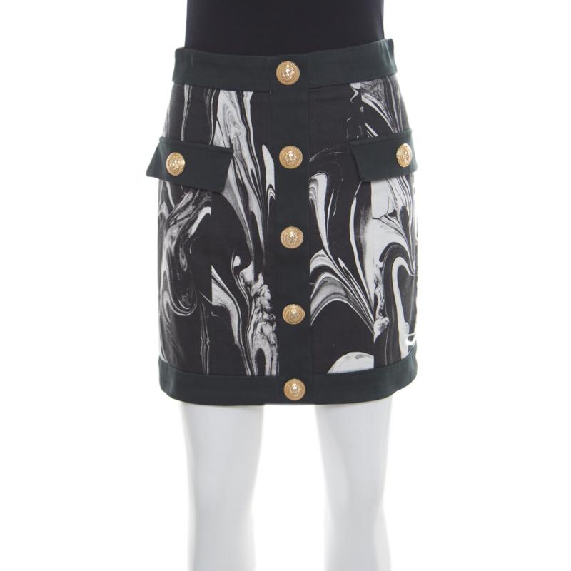 9f3aabc03a ... Balmain Monochrome Marble Printed Logo Button Detail Mini Skirt S.  nextprev. prevnext