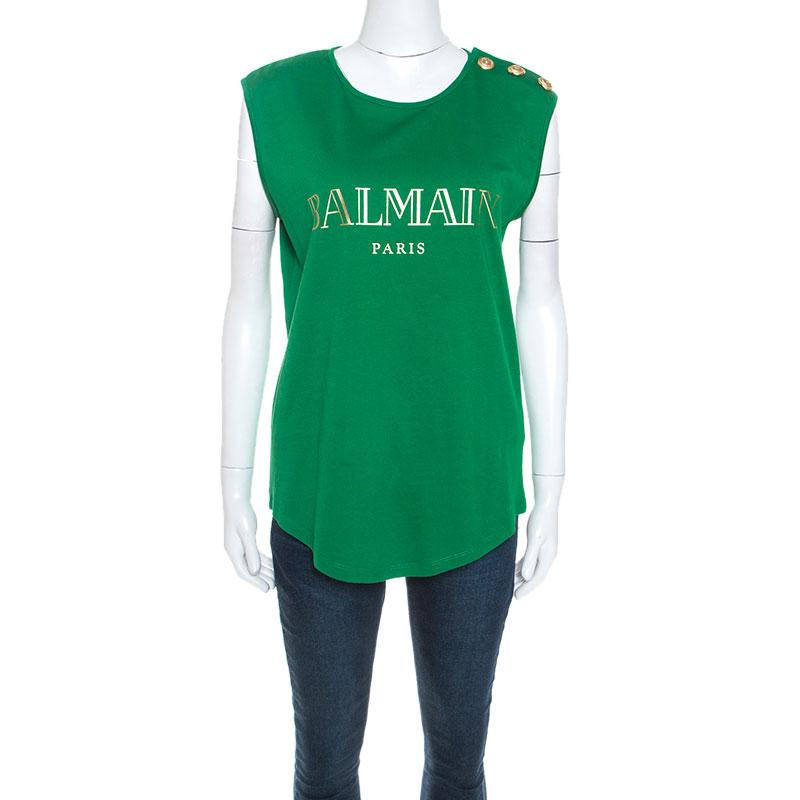 Balmain Green Cotton Shoulder Logo Button Detail Sleeveless T-Shirt M