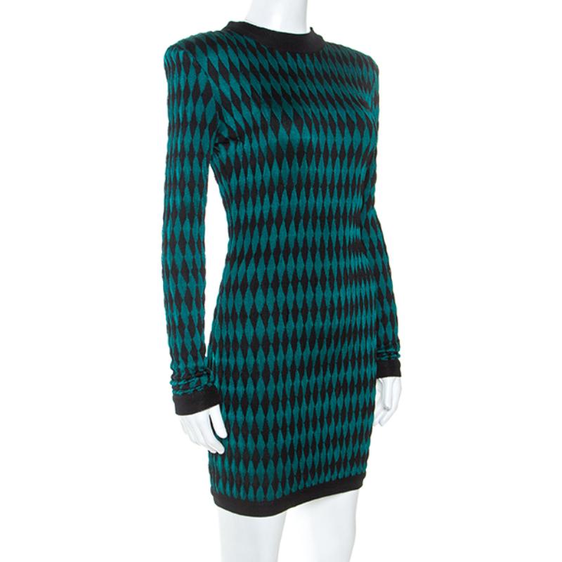 Balmain Bicolore En Tricot À Manches Longues Intarsia Mini Robe De S