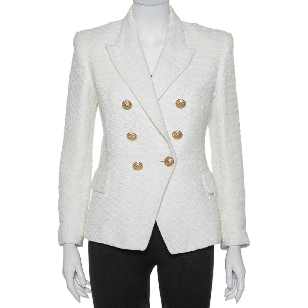 Balmain Off White Tweed Double Breasted Blazer L