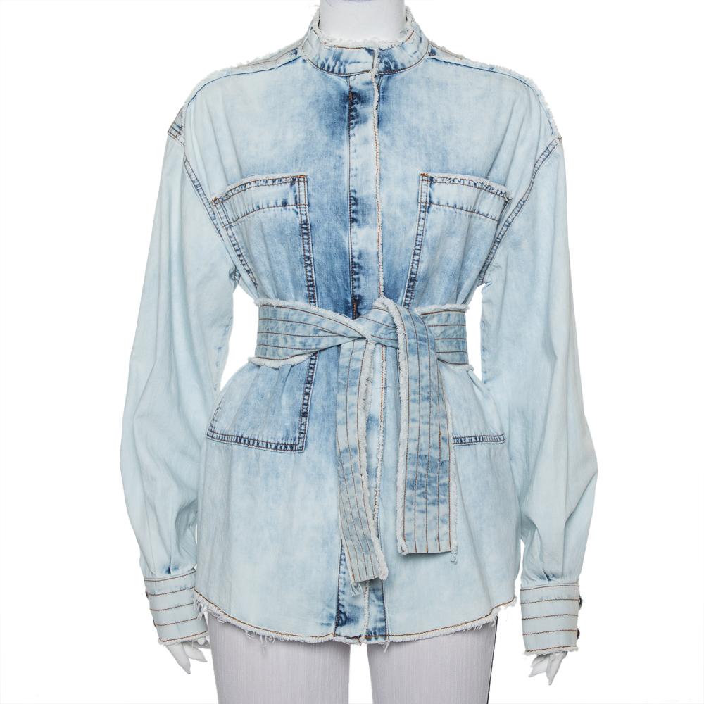 Balmain Blue Washed Out Effect Denim Frayed Detail Belted Lightweight Jacket M