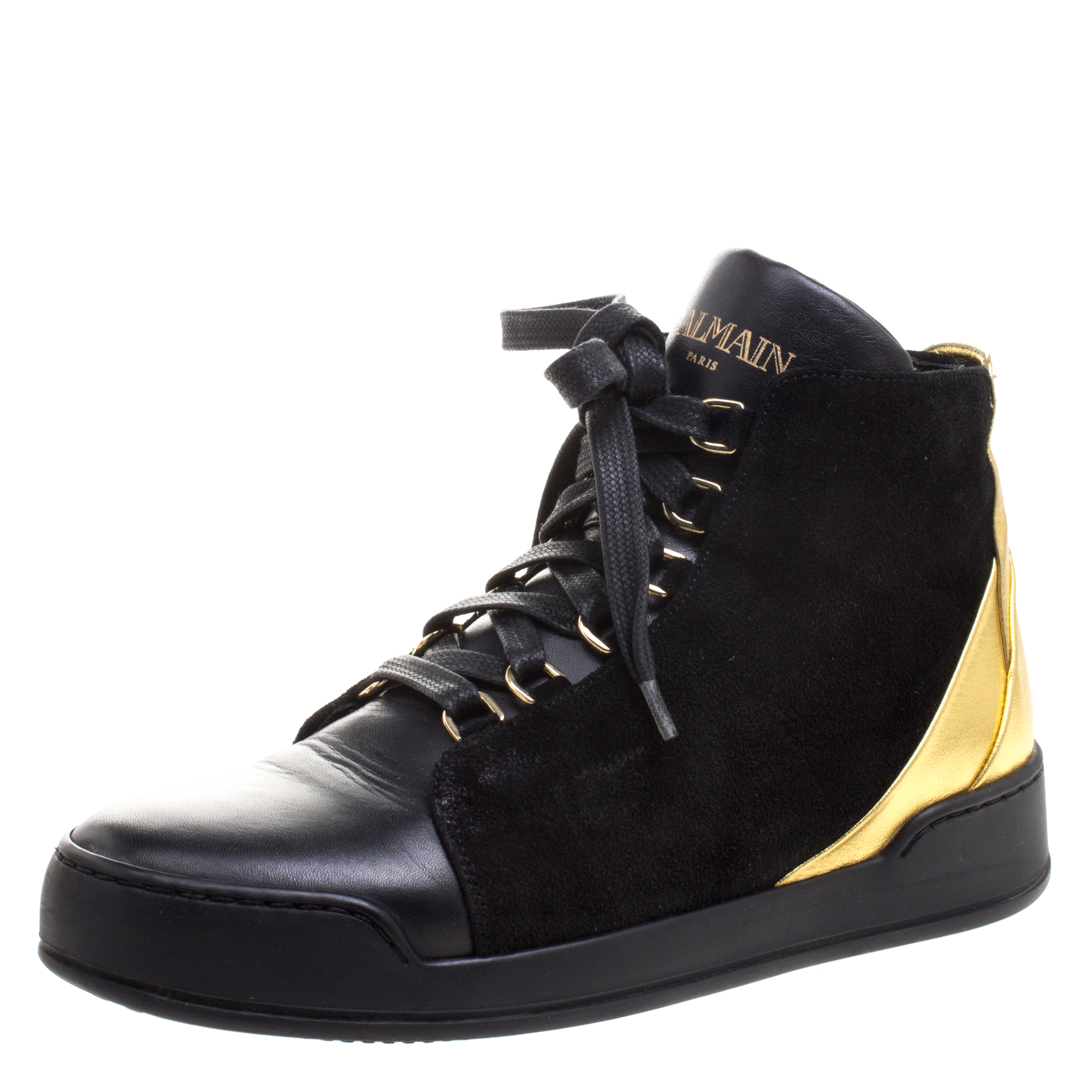 1d6fbf3c344 Buy Balmain Gold Metallic Leather And Black Suede High Top Sneakers ...