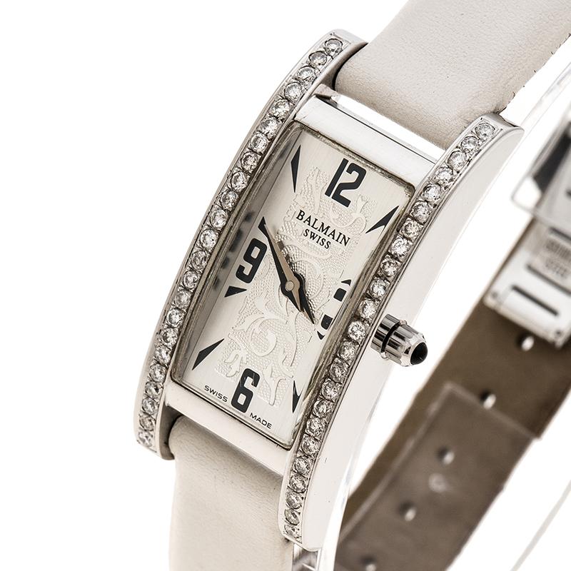 Купить со скидкой Balmain Silver White Stainless Steel and Diamond 2191 Women's Wristwatch 18 mm