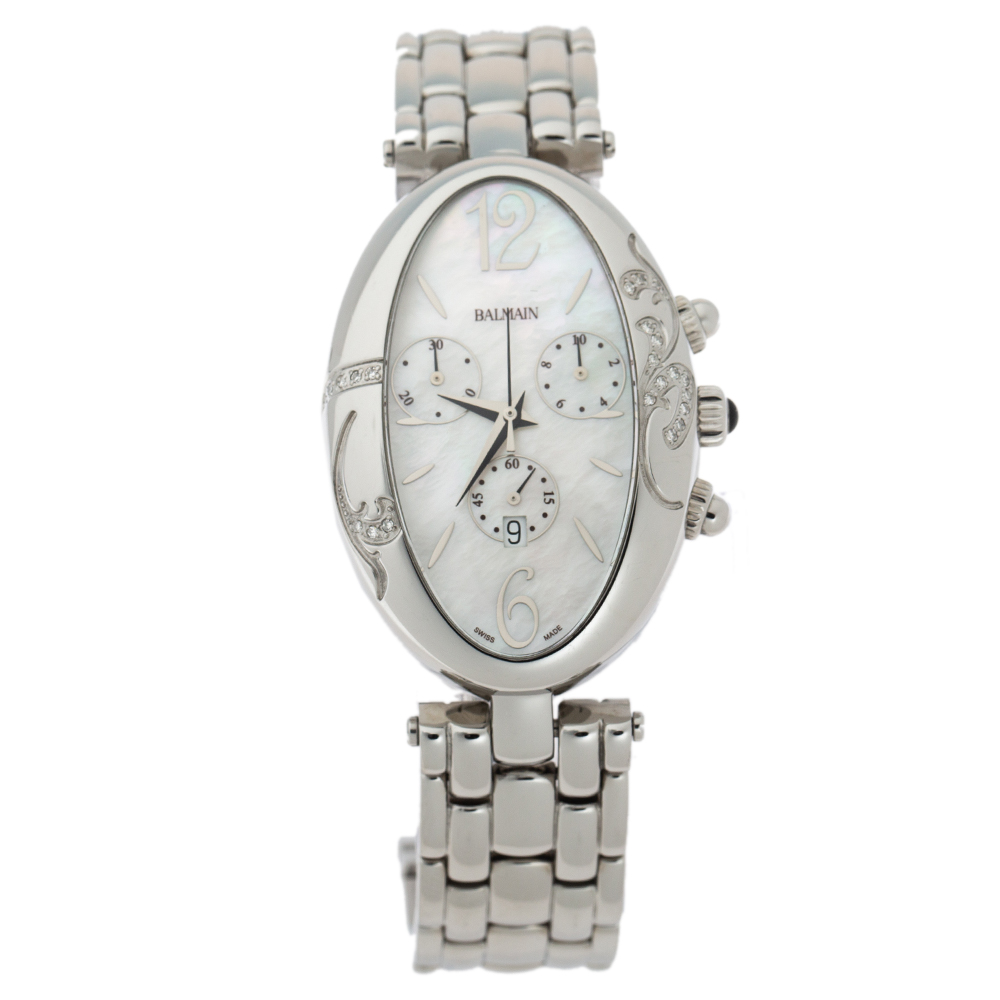 Balmain Mother Of Pearl Stainless Steel Diamond Ovation 5275 Women's Wristwatch 30 mm