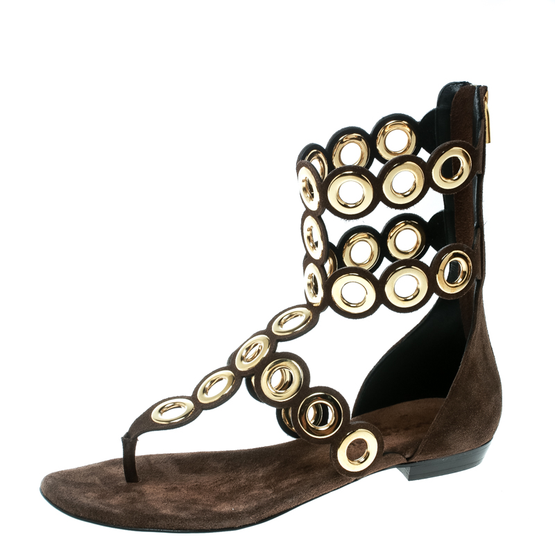 00b3a52d3 ... Barbara Bui Brown Suede Eyelet Detail Flat Thong Sandals Size 37.  nextprev. prevnext