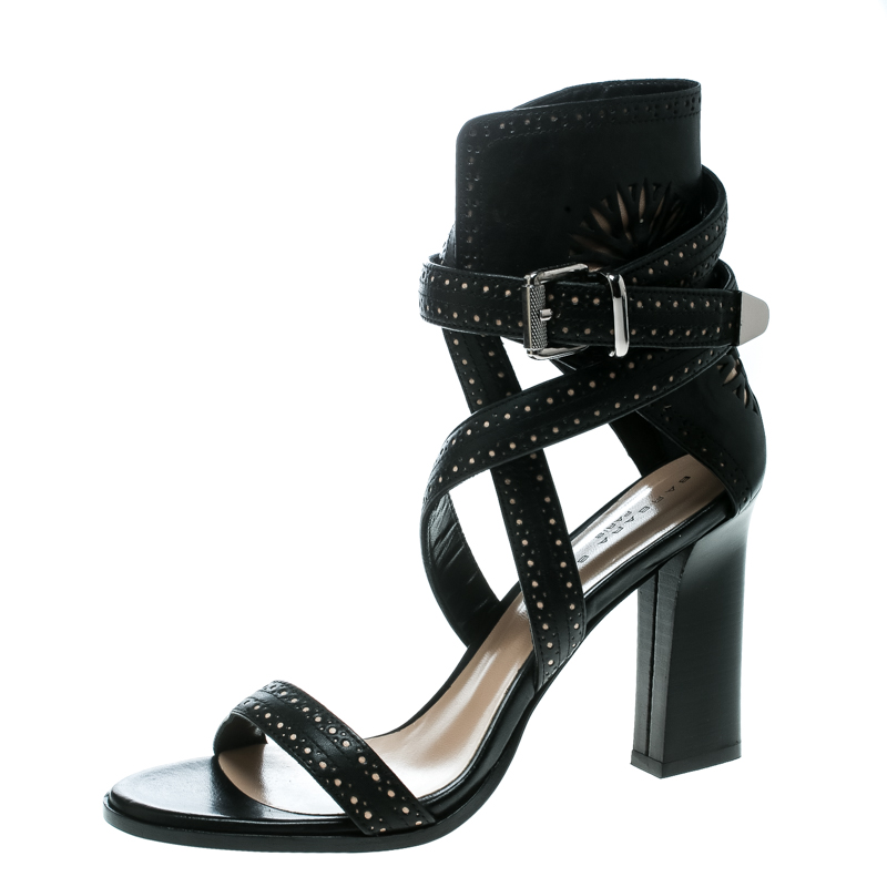 80cfe4db3cd Buy Barbara Bui Black Laser Cut Motif Perforated Leather Ankle Cuff ...