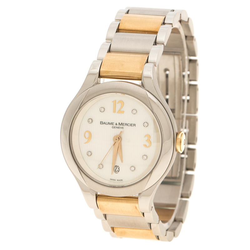 2be9168e4 Buy Baume & Mercier White Mother of Pearl Yellow Gold Capped ...