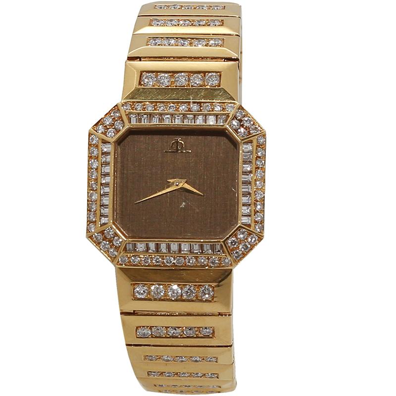7c5ec386a Buy Baume & Mercier Brown 18K Yellow Gold Diamond Women's Wristwatch ...