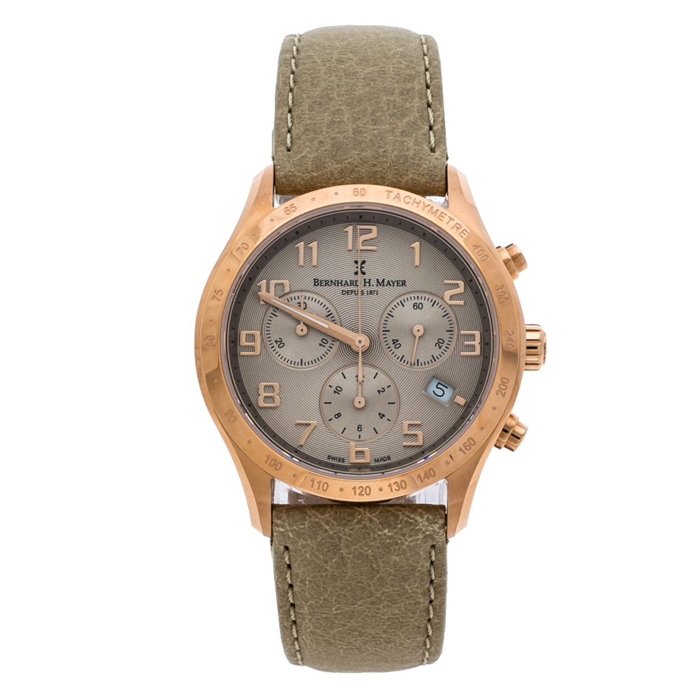 Bernhard H Mayer Khaki Rose Gold PVD Plated Stainless Steel Irish Chronograph Women's Wristwatch 38 mm