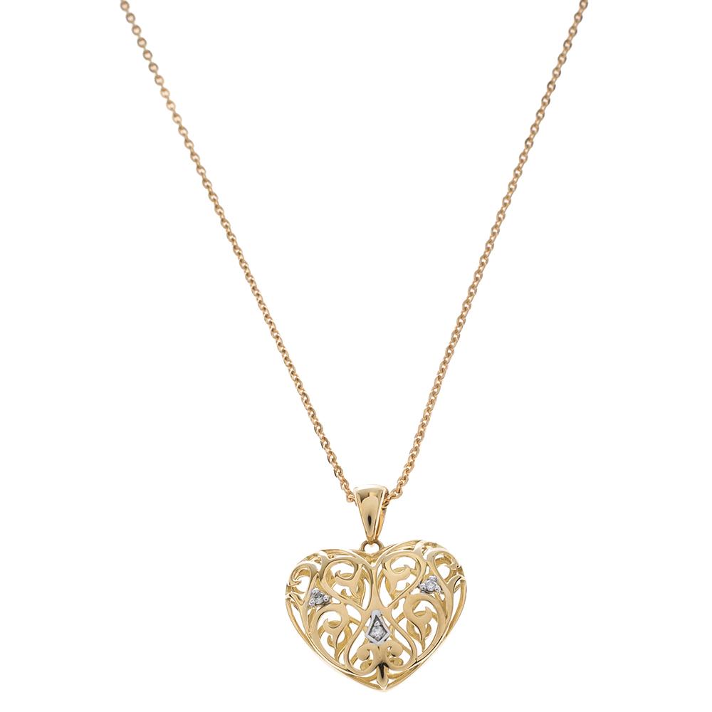 Bernhard H. Mayer Clara Diamond 18K Yellow Gold Heart Pendant
