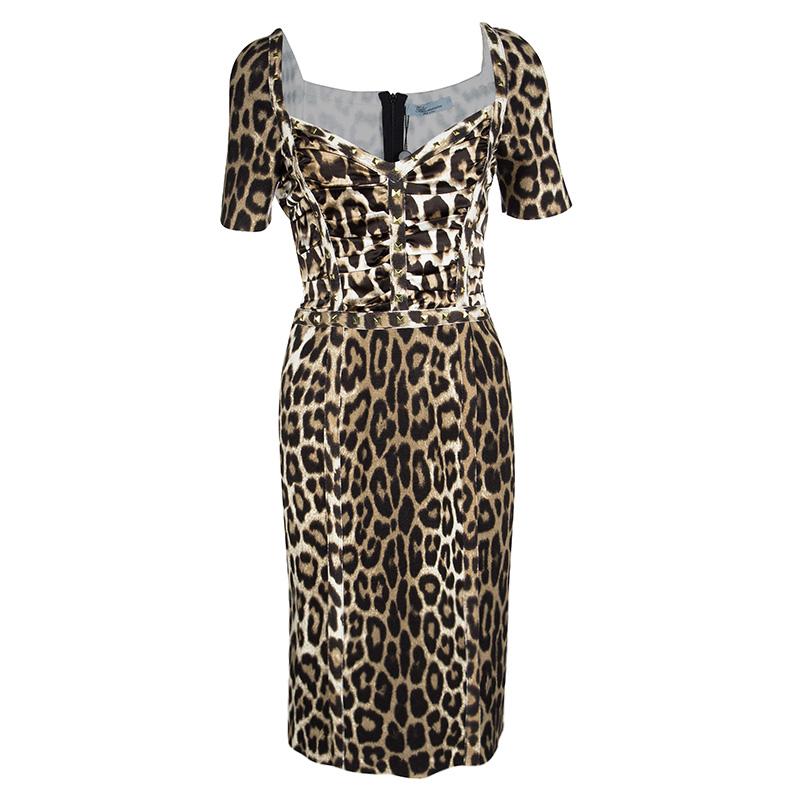 Купить со скидкой Blumarine Leopard Printed Knit Rockstud Embellished Sheath Dress S