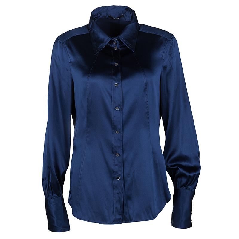 563a44df8b37a5 ... Navy Blue Silk Satin Long Sleeve Button Front Shirt M. nextprev.  prevnext