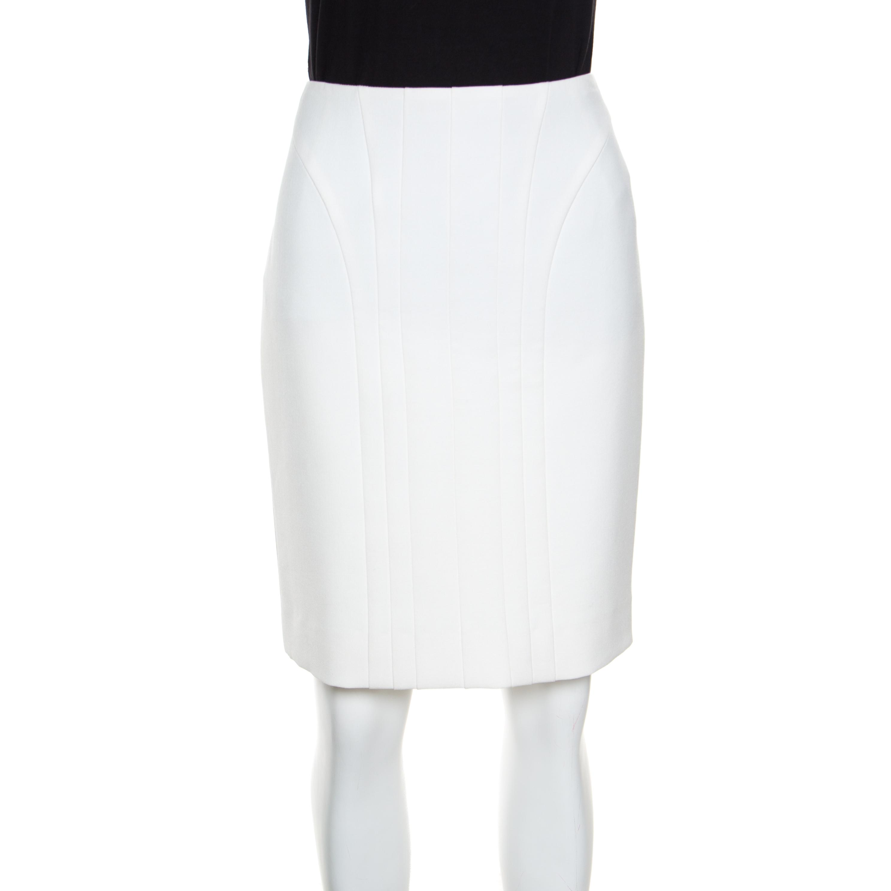 Купить со скидкой Boss by Hugo Boss Off White Paneled Viladi Pencil Skirt S