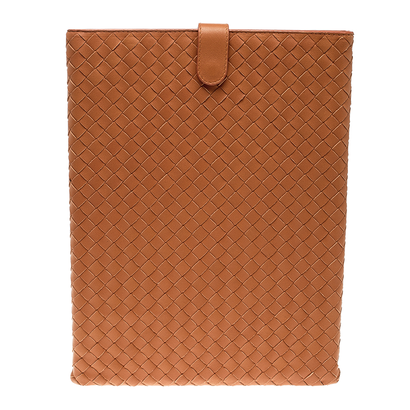 Bottega Veneta Orange Intrecciato Leather Ipad Case