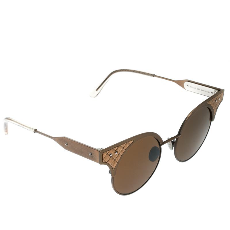 4e25daa360352 Buy Bottega Veneta Bronze Brown BV0113S Round Sunglasses 175587 at ...