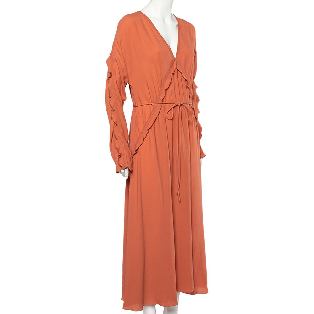 Bottega Veneta Dusky Orange Silk Georgette Belted Fluid Maxi Dress L