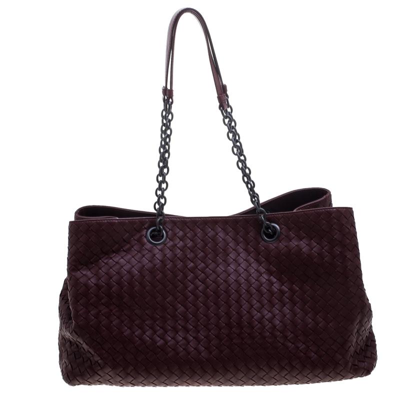 ... Bottega Veneta Burgundy Intrecciato Leather Double Chain Tote.  nextprev. prevnext aeac1fc47fc6c