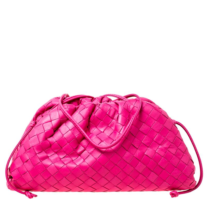 Bottega Veneta Pink Intrecciato Leather Pouch Bag