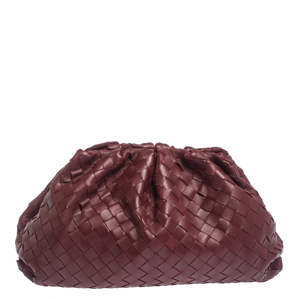 Bottega Veneta Bordeaux Intrecciato Nappa Leather 15 The Pouch Clutch